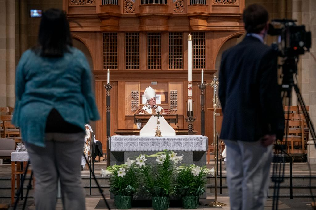 Bishop Matano gives his Easter homily via livestream and television broadcast April 12.