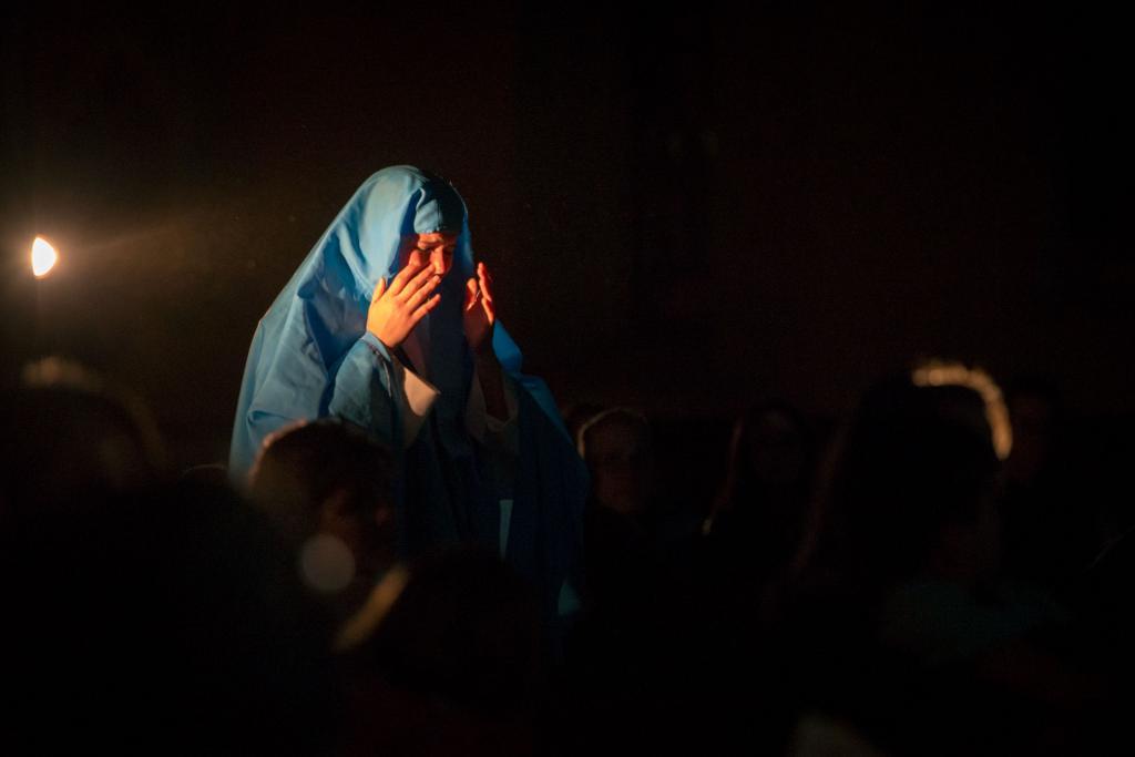 Abi Higgins as Mary walks forward to meet Jesus.