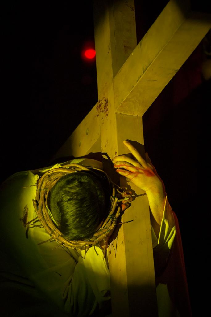 Jesus, played by Stephen Taylor, falls for the first time.