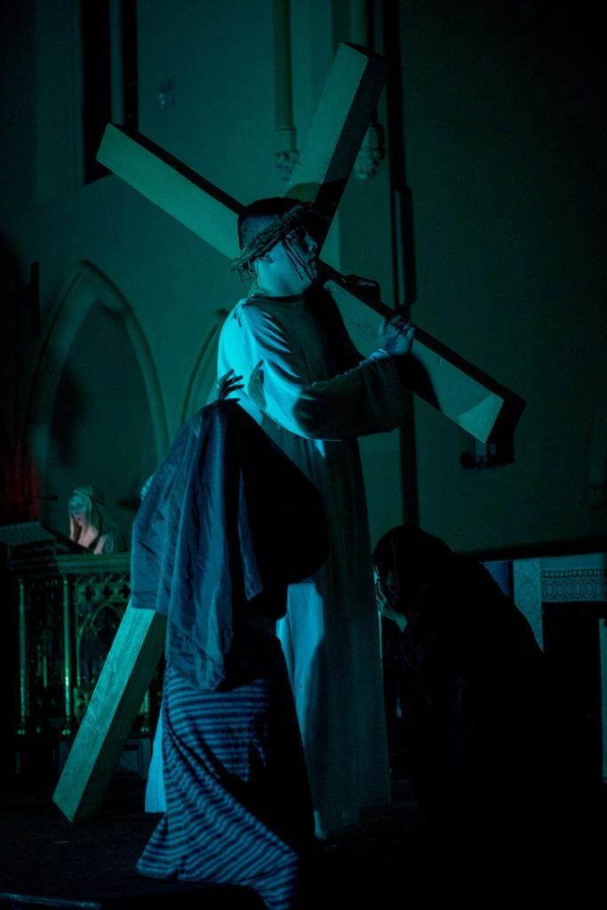 Jesus, played by Stephen Taylor, meets the women of Jerusalem.