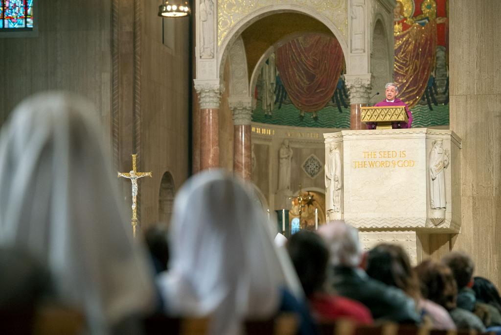 Bishop Salvatore R. Matano gives the homily during the Right to Life Mass at the Basilica of the National Shrine of the Immaculate Conception in Washington, D.C., Jan. 19 before the March for Life.