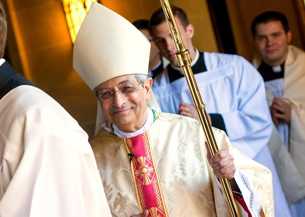 Bishop Salvatore R. Matano processes into Sacred Heart Cathedral.