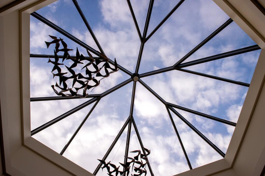 The skylight window is seen near the mausoleum's entrance.