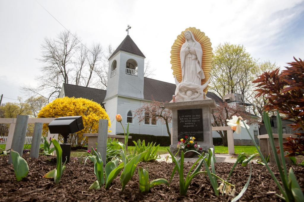 The new Our Lady of Guadalupe statue sits outside of the mission in Marion.