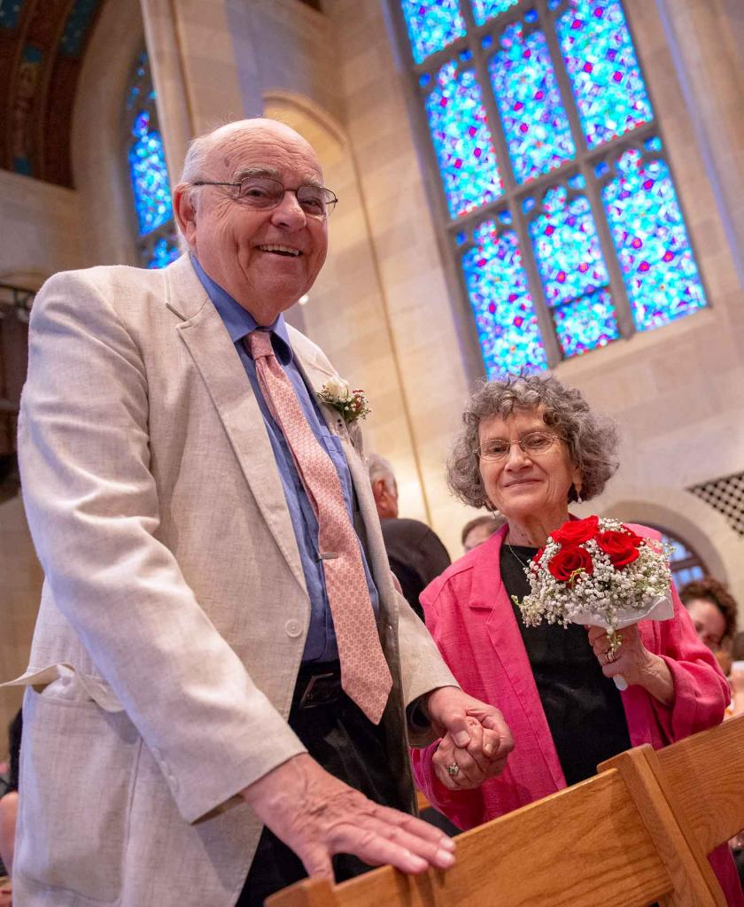 George and Mary Bauer, who have been married for 60 years, smile after renewing their vows.