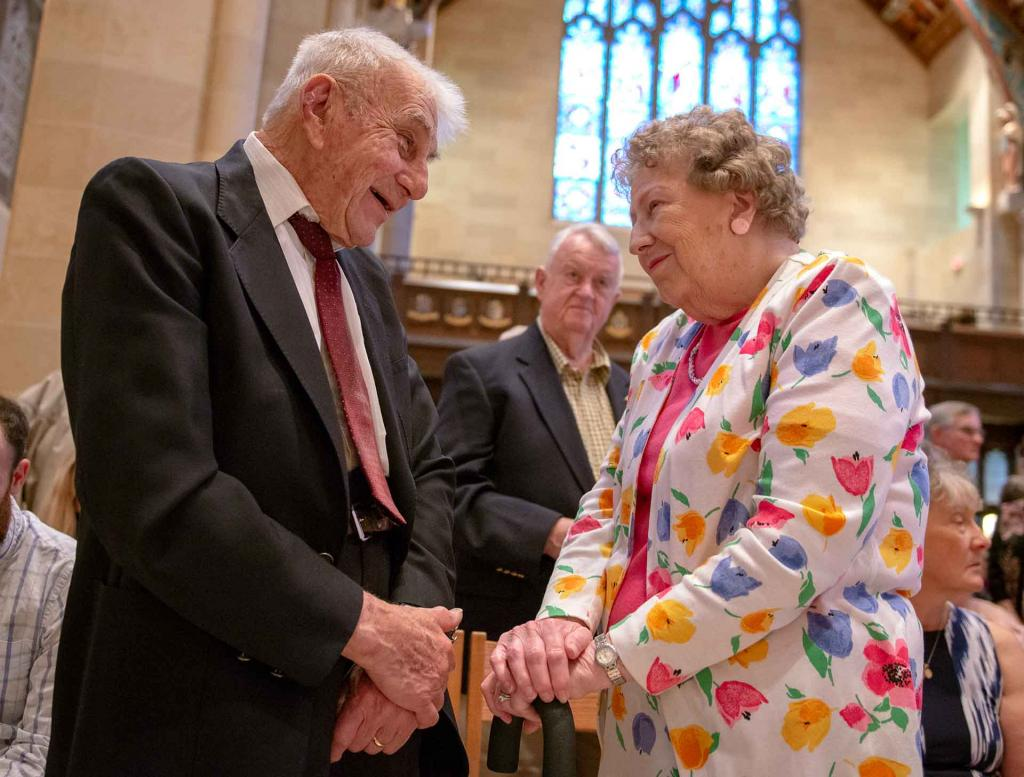 Vincent and Frances Kovalcik smile at each other before renewing their vows after 60 years of marriage.