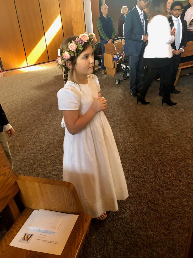 Maura received her First Holy Communion at Our Lady Queen of Peace Parish. (Submitted by mom, Margot)