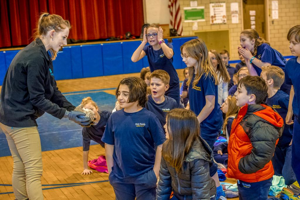 Bree Riesbeck of Tanglewood Nature Center allows students from Holy Family Catholic School in Elmira to pet Sir Snuffles the hedgehog during a Catholic Schools Week event Jan. 30. (Photo by Rick Bacmanski)