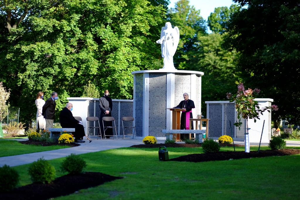Bishop Salvatore R. Matano delivers his blessing during the Sept. 19 dedication ceremony. (Photo courtesy of Holy Sepulchre Cemetery)