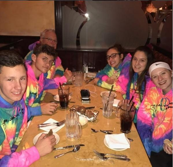Teens from St. John of Rochester in Fairport enjoy a dinner in Indianapolis. (Photo courtesy St. John ofRochester)