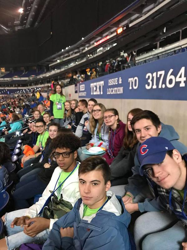 Youth from St. Maximilian Kolbe and St. Joseph the Worker Parishes in Wayne County pose for a photo at Lucas Oil Stadium.(Photo courtesy of St. Maximilian Kolbe and St. Joseph the Worker Parishes)
