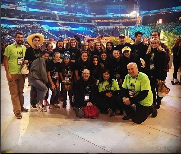 Teens and chaperones from St. Patrick Church in Victor pose for a photo inside Lucas Oil Stadium on the final night of the conference Nov. 18. (Photo courtesy St. Patrick Church)