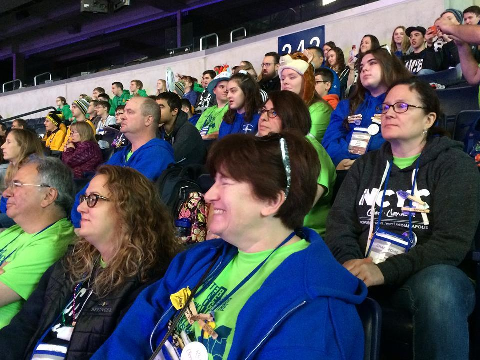 Teens and chaperones from St. Pius Tenth listen to a keynote speaker at Lucas Oil Stadium Nov. 17. (Photo courtesy St. Pius Tenth)