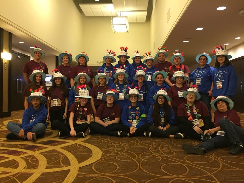 Teens and chaperones from St. Theodore Church in Gates pose for a photo outside the hotel conference room Nov. 16. (Photo courtesy St. Theodore Church)