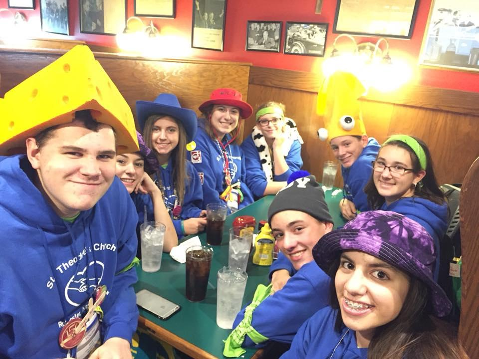Teens from St. Theodore Church in Gates enjoy dinner in Indianapolis. (Photo courtesy St. Theodore Church)