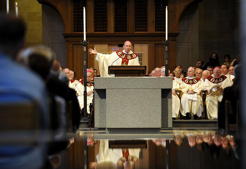 Bishop Clark speaks at the end of the Mass.