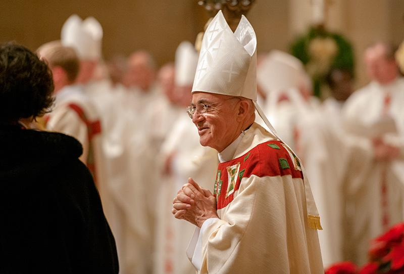 Archbishop Carlo Maria Viganó, Papal Nuncio to the United States, smiles at those in attendance during the Mass.