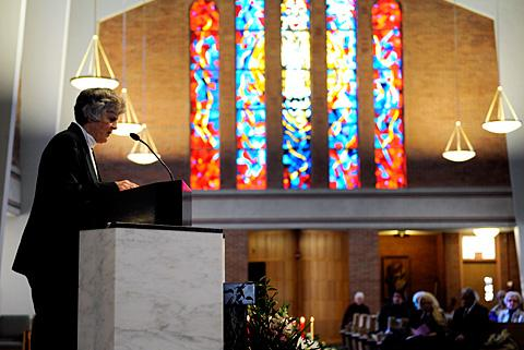 Sister Beth LeValley speaks during the service.
