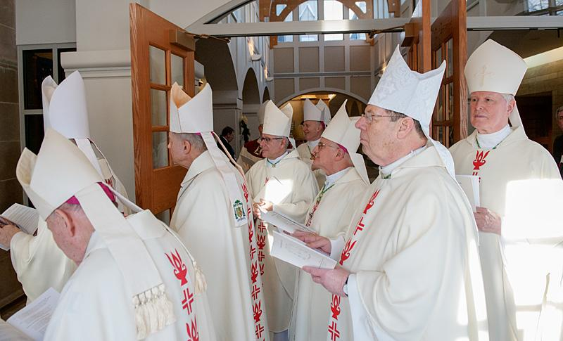Bishops line up in the narthex before the start of the installation Mass.