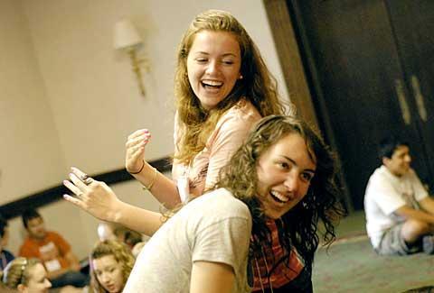 "Julianne Fiori (top) and Kelsea Wemett play ""1, 2, 3, Ninja."""