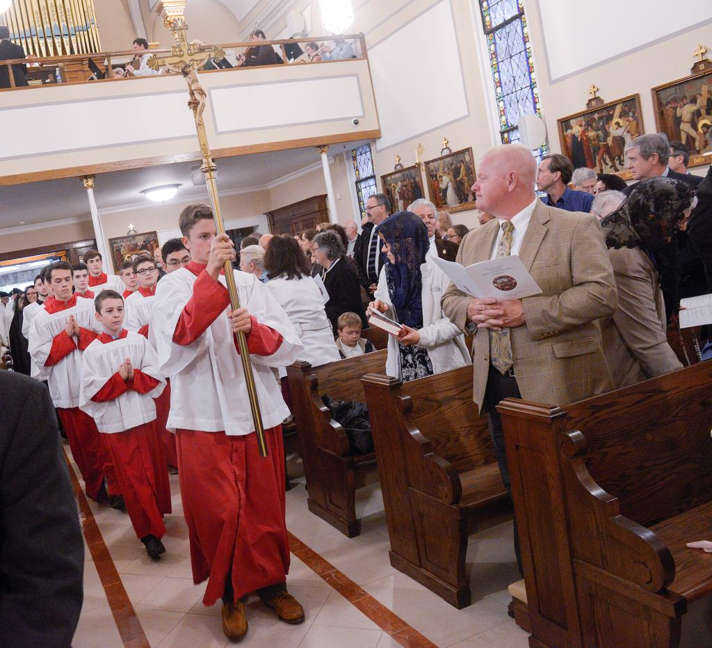 The processional at the start of the Solemn Mass of Dedication at Rochester's Our Lady of Victory Church Oct. 7. (Courier Photo by John Haeger)