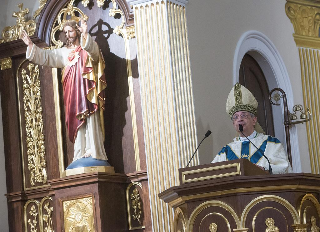 Bishop Salvatore R. Matano gives the homily. (Courier Photo by John Haeger)