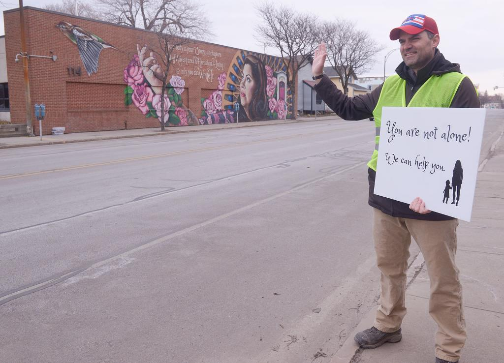Jim Havens takes part in the 40 Days for Life campaign in Rochester March 28.