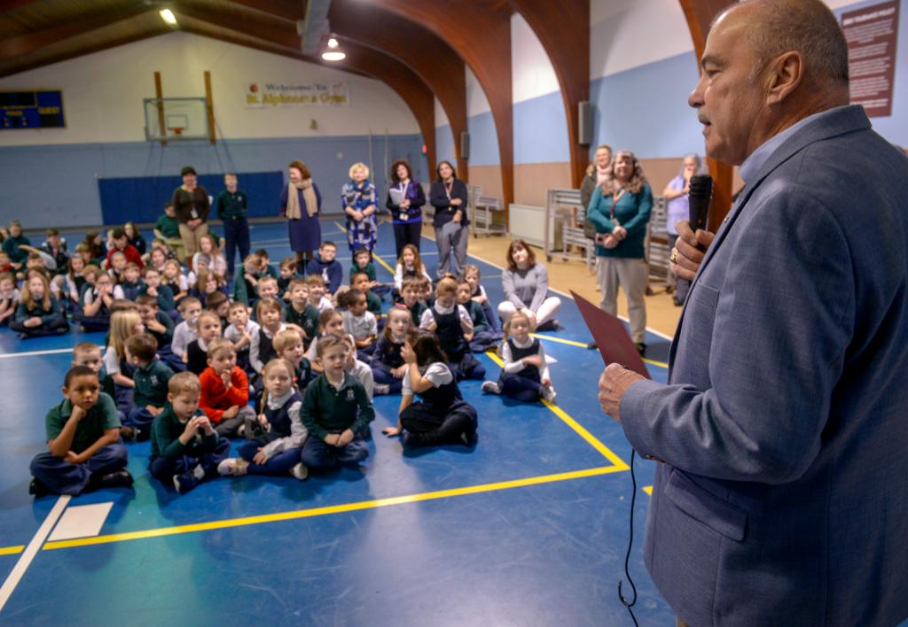 Auburn Mayor Mike Quill addresses students at St. Joseph School in Auburn Jan. 28.
