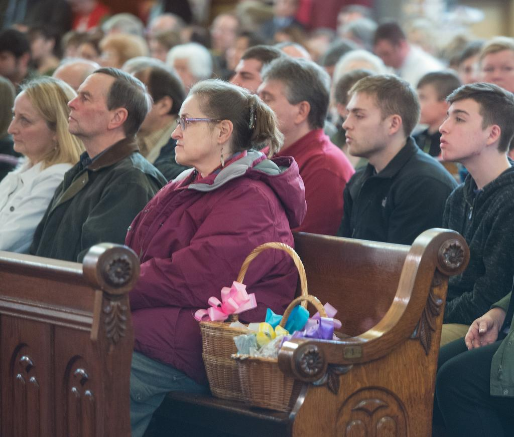 The annual blessing Easter food baskets March 31 at St. Stanislaus Kostka Church.(Courier Photo by John Haeger)