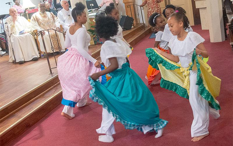 The Immaculate Conception Junior Liturgical Dancers perform during the Mass.