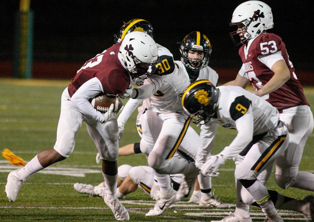 Aquinas' Will Benjamin (13) looks for the hole as McQuaid's Connor Zamiara (30) reaches to make the tackle.<br />(Courier photo by John Haeger)