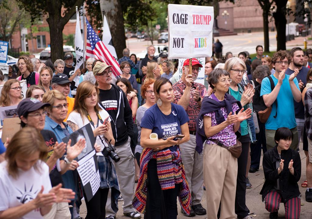 More than 100 people gathered at Washington Square Park July 12 to call for an end to immigrant detention centers.
