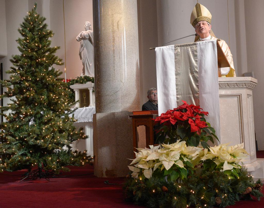 Bishop Matano gives his homily. (Courier photo by John Haeger)