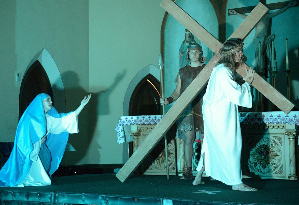 At the fourth station, Jesus meets his mother, played by Quinn Miller.