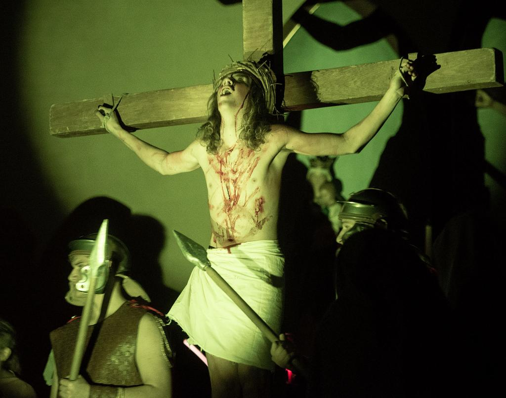 Ayden Kemp portrays Jesus during a Living Stations of the Cross presentation at St. James Church in Waverly March 6.