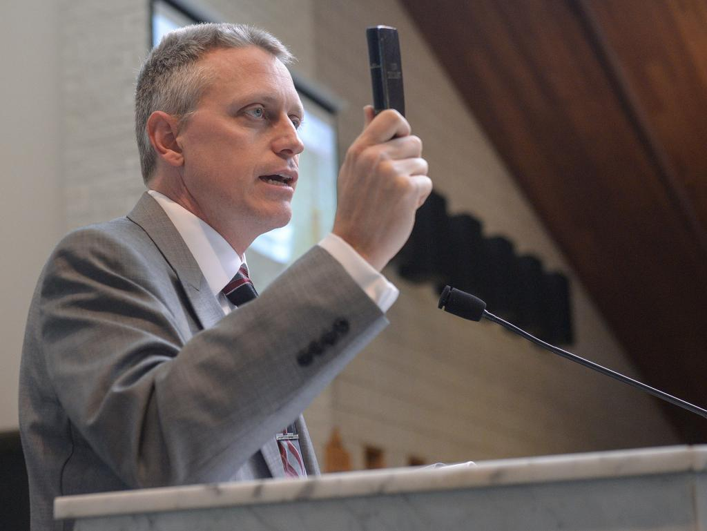 During the Rochester Catholic Men's Conference Oct. 13, Dr. John Bergsma talks about growing up Protestant and his conversion to Catholicism. (Courier Photo by John Haeger)