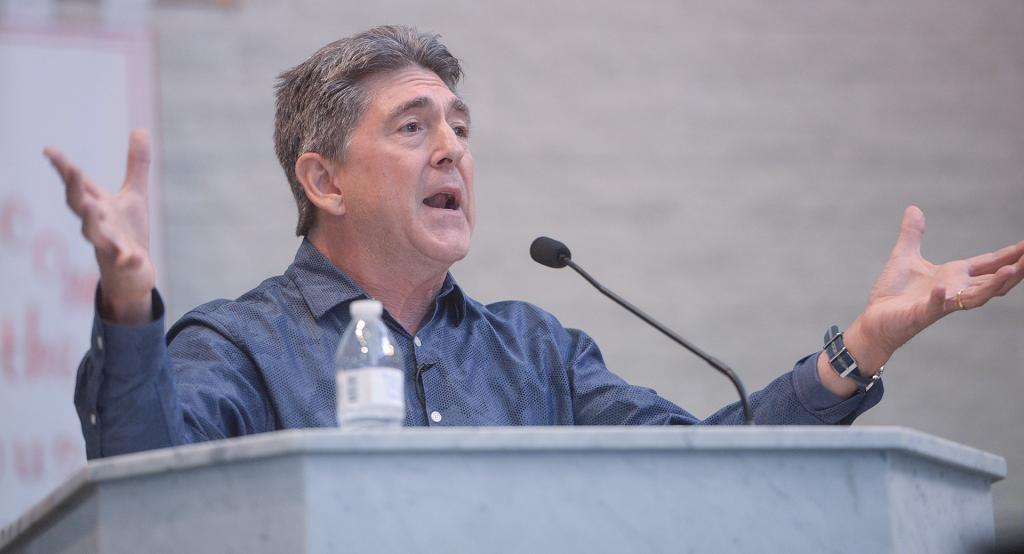 Dr. Marcellino D'Ambrosio speaks during the conference.<br />(Courier Photo by John Haeger)