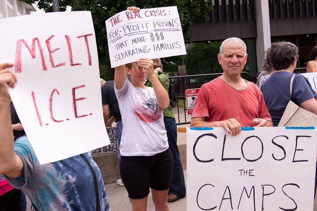 Protesters rally July 2 to end family separations and close immigrant detention centers at the U.S. border with Mexico.