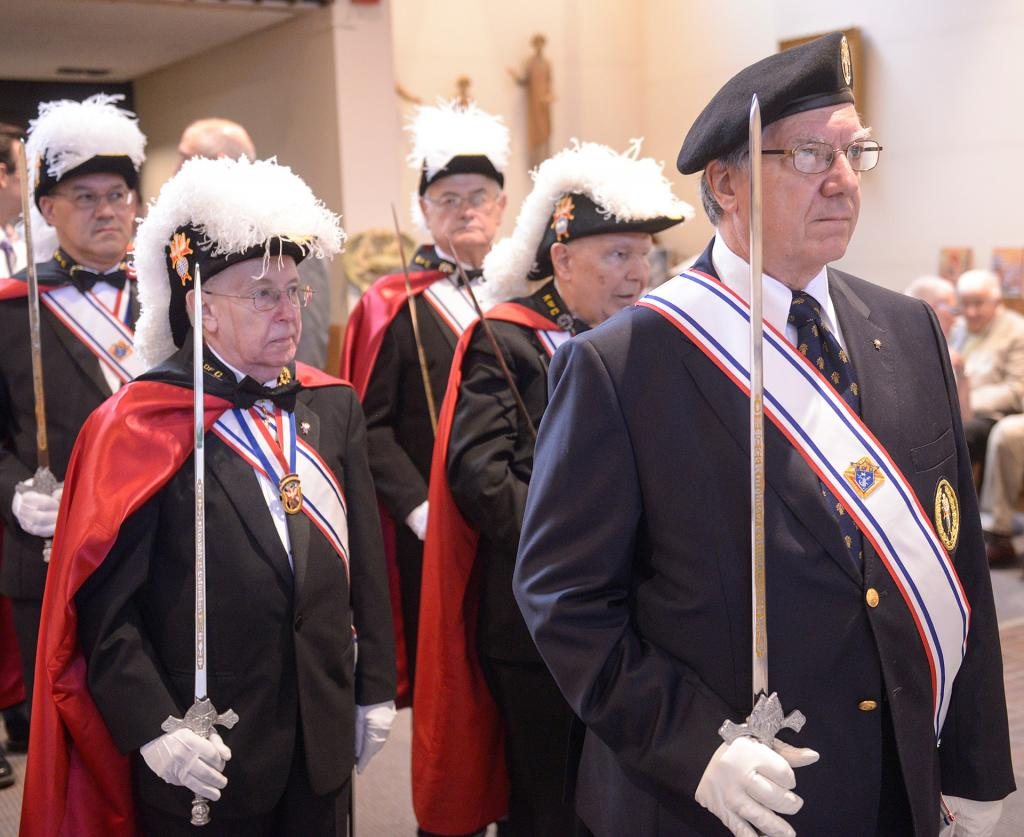 Members of the Knights of Columbus prepare to process into Church of the Holy Spirit in Webster Oct. 6 at the start of the diocesan Respect Life Mass.(Courier Photo by John Haeger)