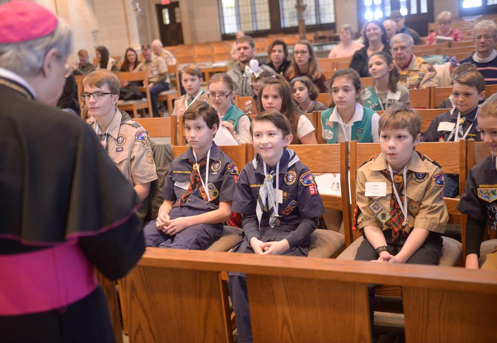 Bishop Matano speaks to the Scouts. (Courier photo by John Haeger)
