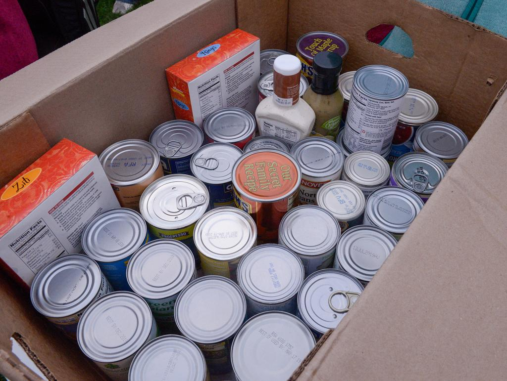 Some of the food items collected during the event.(Courier Photo by John Haeger)