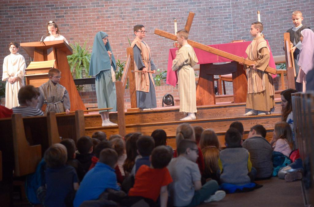 Students from St. Lawrence School in Greece watch Jesus (Sean Masiuk) on his journey to crucifixion.