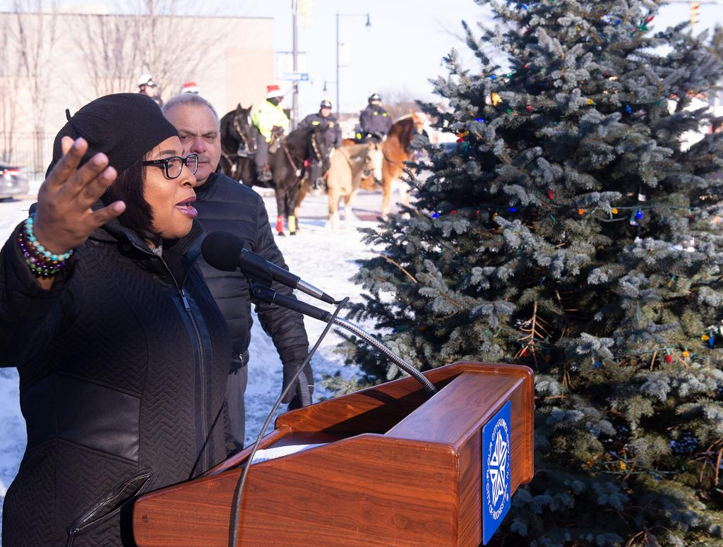 Rochester Mayor Lovely Warren addresses those gathered for the tree lighting ceremony.