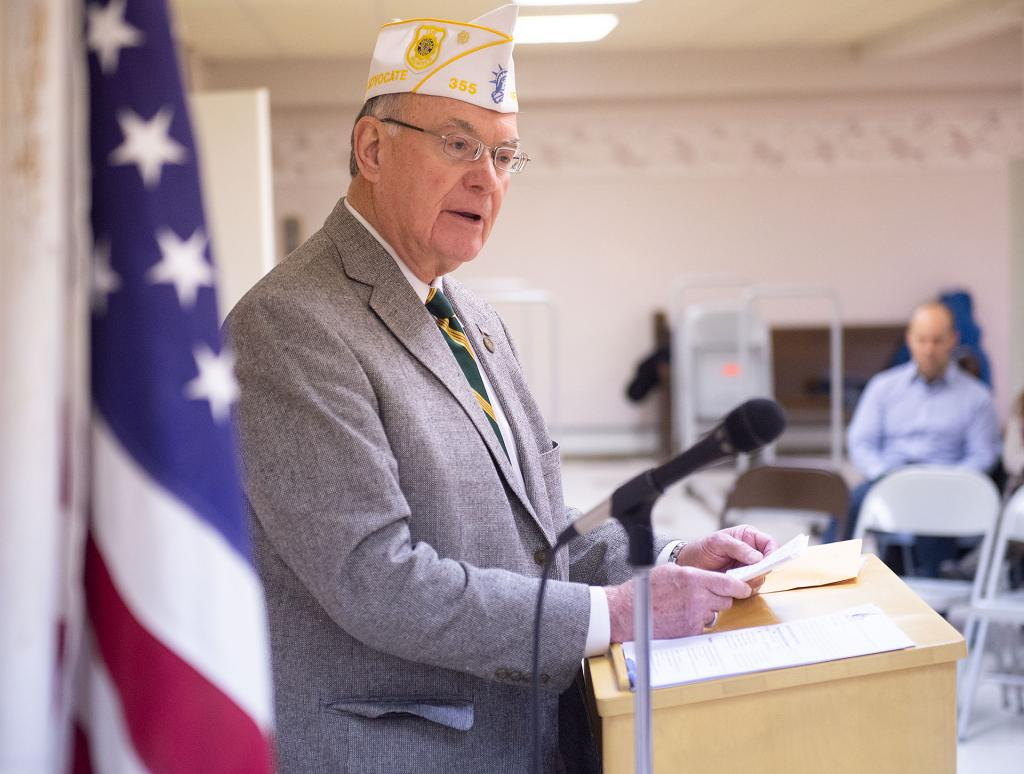 U.S. Army veteran Patrick Falvey, who served during Vietnam, speaks at the ceremony.