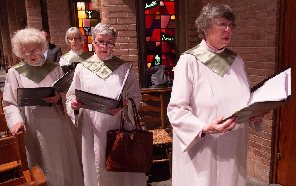 Choir members prepare for the recessional.