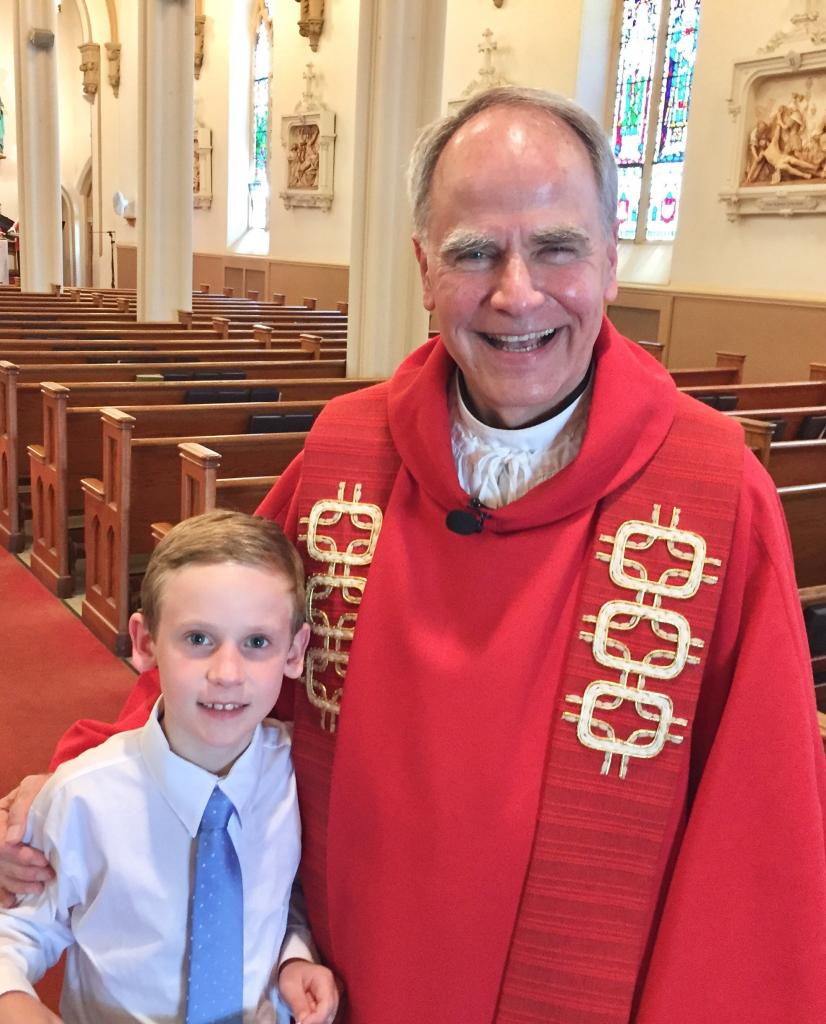 Due to the passing of his grandfather on his planned First Communion celebration in May, Fr. Michael Fowler, pastor of St. Agnes, Avon, St. Rose, Lima and St. Paul of the Cross, Honeoye Falls invited Johnny to celebrate instead on Pentecost Sunday, June 9. (Submitted by mom, Elizabeth)