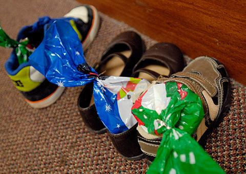 Children's shoes left in the hall were filled with treats.