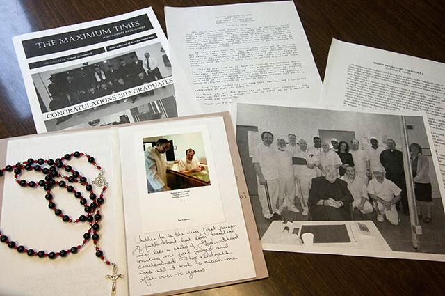These are letters, photos and personal items from death-row inmates who have joined Holy Family Parish in the Diocese of Nashville, Tenn. The inmates at a maximum security prison will never be able to attend Mass or socials there, but the parish community wanted to welcome them as members.