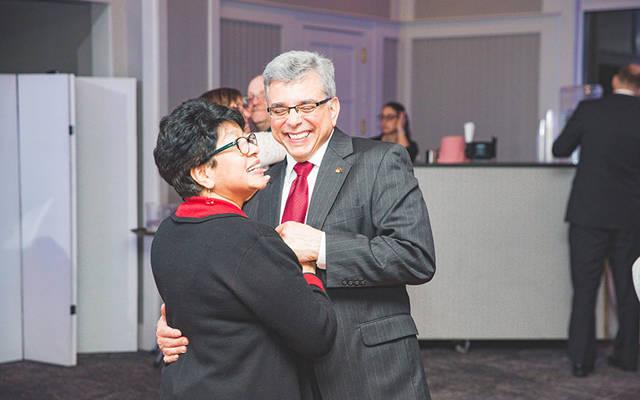 <p>Leonor and Ed Rivera dancing at the wedding of Emily and Stephen Nemeth March 14, 2020.</p>