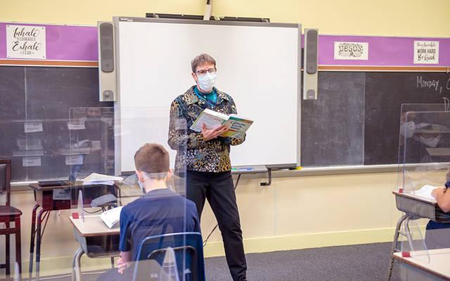 <p> Sister of Mercy Laurie Orman teaches a class at St. Mary School in Canandaigua Oct. 26.</p>
